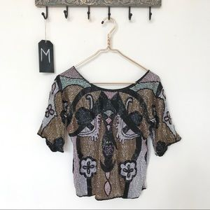 Vintage Metamorphosis | Beaded Silk Top | M